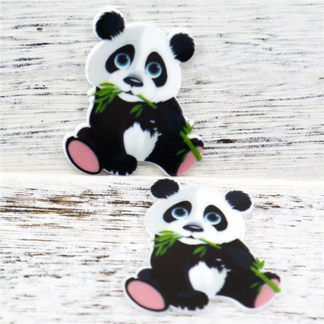 5 x 39mm PANDA LASER CUT FLAT BACK RESIN HEADBANDS HAIR BOWS CARD MAKING CRAFTS